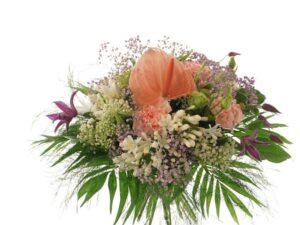 anthurium, rosa, brudeslør sommerbuket