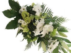 hvid og lime bårebuket