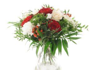 røde og hvide roser